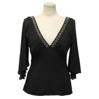 Temperley Black Silk Beaded Top
