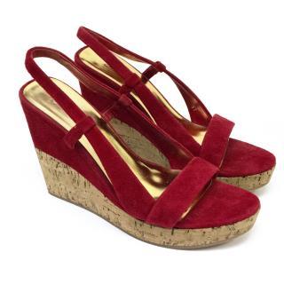 Miu Miu Red Suede Wedge Sandals