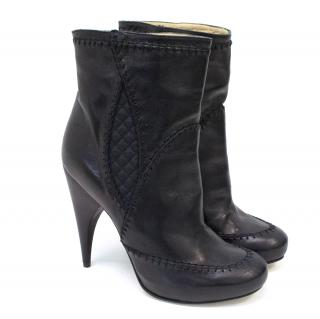 John Galliano Black Leather Ankle Boots