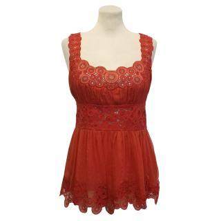 Catherine Malandrino Silk Red Top