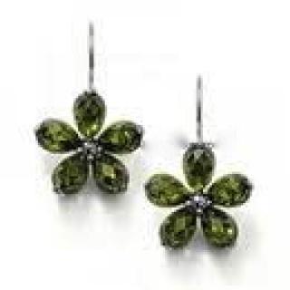 Thomas Sabo CZ Sterling Silver Green Flower Drop Earrings