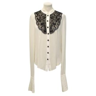 Temperley London Cream Silk Blouse with Black Lace Detailing