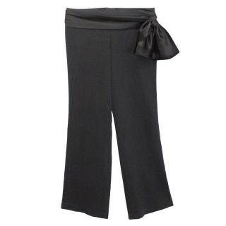 Temperley Black Silk Trousers with Waist Tie