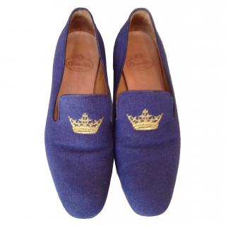 Church's navy cloth loafers