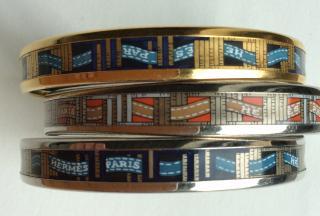 Hermes set of 3 enamel printed narrow bracelets