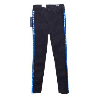 Lee Dark Wash Jeans With Sequins Down Sides