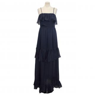 Halston Heritage Midnight Blue Silk Tiered Maxi Dress