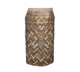 Mulberry Beaded Pencil Wool Skirt