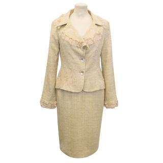 Renato Nucci Beige And Gold Boucle Skirt Suit With Gold Lace