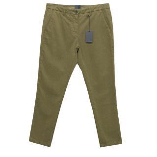 Lot78 Khaki Moss Green Chino Trousers