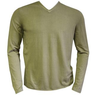 Falke cotton green v-neck sweater