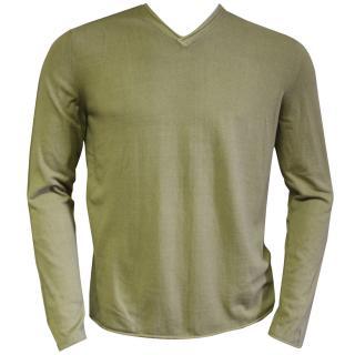 Falke cotton green v-neck sweater