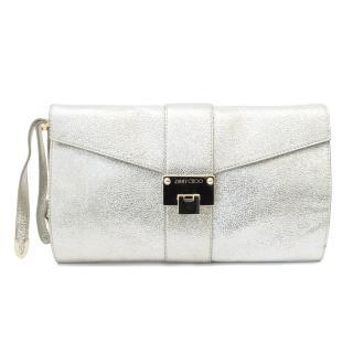 Jimmy Choo Silver Glitter Leather 'Rivera' Clutch Bag