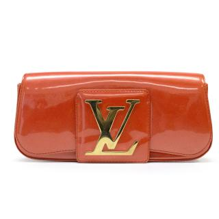 Louis Vuitton Orange Patent Leather 'LV Initiales Clutch Bag