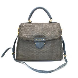 Prada Grey and blue woven leather 'Madras Flap Bag'