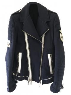Balmain Navy Leather Jacket