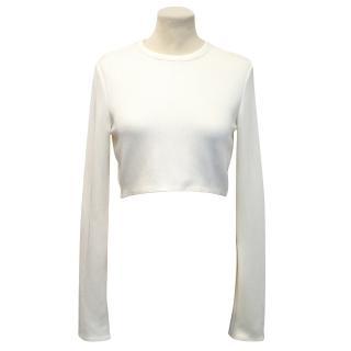 Zara Cream Embroidered Crop Top