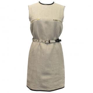 Celine Beige Wool Dress With Belt