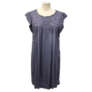 Etoile Isabel Marant Purple Silk Dress With Embroidered Detail