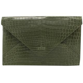 Alexandra Knight Green Crocodile Skin Envelope Clutch Bag