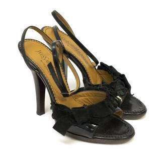 Yves Saint Laurent Rive Gauche Black Heels With Suede Bow