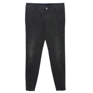 Stella McCartney Grey/Black Jeans With Star Embellishment