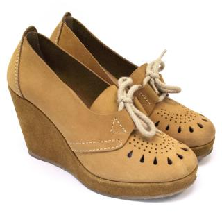 A.P.C. Mustard Suede Wedges With Perforated Detailing