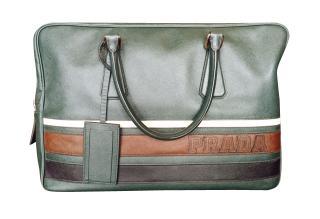 Prada emerald Saffiano leather zip-top briefcase
