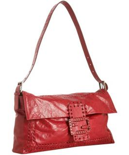 Fendi Oversized Red  Whipstitched Covertible Bag