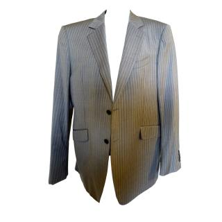 Etro Mens Grey Blue Pinstripe Jacket Hand Finished