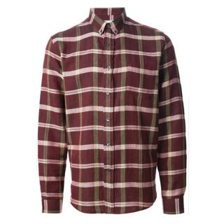 Ami Maroon Plaid Shirt