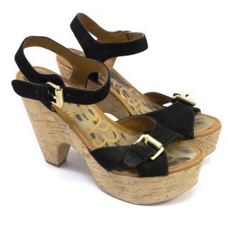 Sam Edelman Black Suede Wedged Sandals