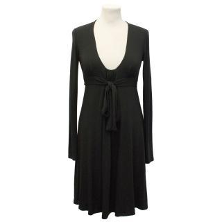 Patrizia Pepe Black Dress With Adjustable Bow On The Waist