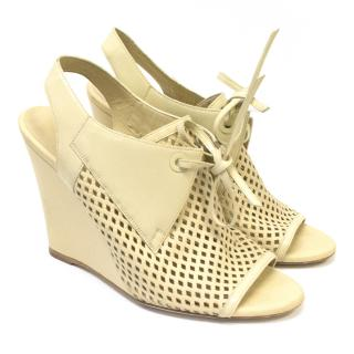Balenciaga Cream Perforated Slingback Wedges