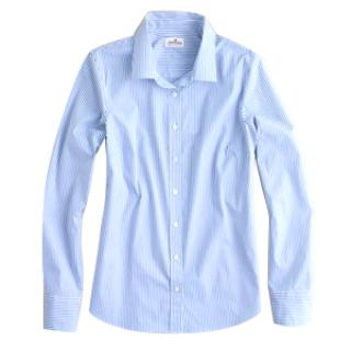 J Crew Stretch perfect shirt in classic french blue stripe