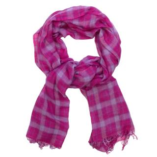 Denis Colomb Pink And Purple Cashmere And Silk Check Scarf