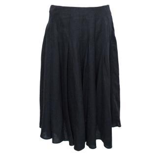 Betty Jackson Navy Pleated Midi Skirt