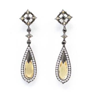 Theo Fennell Black & Silver Earrings with Yellow Sapphire Pendant