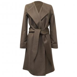 Halston Heritage Taupe Wool and Angora Wrap Coat