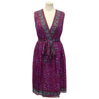 Anna Sui Pink and Green Paisley Motif Dress