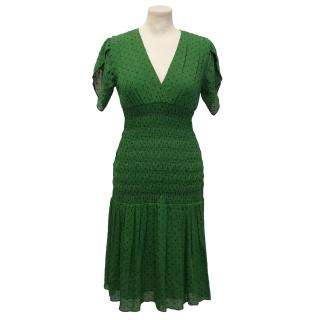 Diane von Furstenberg Green Polka Dot Dress