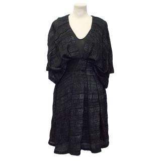 Willow Black Ruched Chiffon Dress