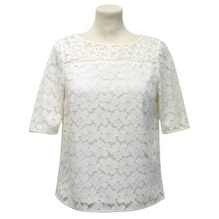 Tibi Ivory Short-Sleeved Lace Top