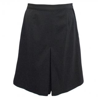 Raoul Knee Length Navy Blue Wool Skirt With Centre Pleating
