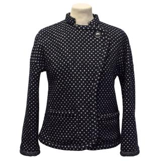 Sonia By Sonia Rkyiel Navy Blue With White Polka Dots Wool Blazer