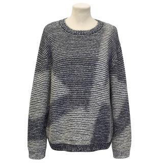 Theysken's Theory Blue And Cream Patterned Kari Knit Sweater