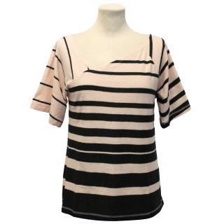 Sonia Rykiel Peach And Black Striped Top