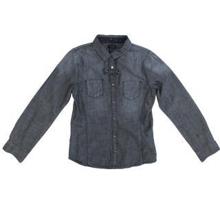 IKKS Dark Denim Shirt With Front Bow Detailing