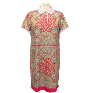 Carven Patterned Polo Shirt  Dress With Pink Collar