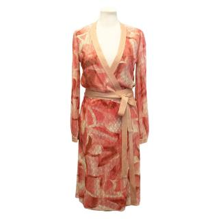 Missoni Peach and Gold Lame Knee Length Wrap Dress
